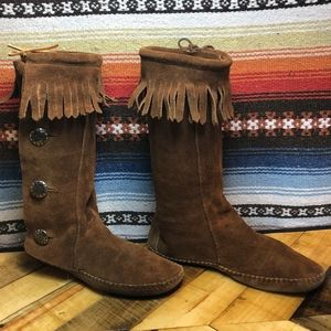 Vintage/Leather Fringed Moccasin Boots